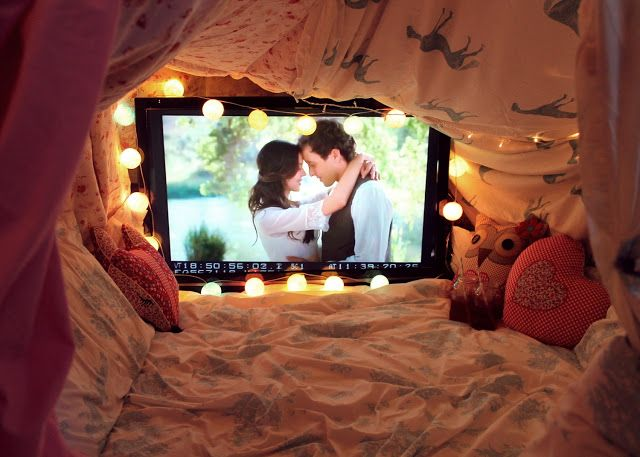 How cute is this cozy den? Create a fortress of duvets and fairy lights for a romantic night in.