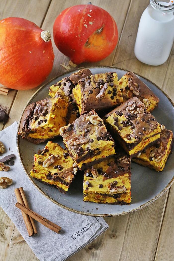 Schoko-Kürbis-Brownies mit Walnüssen