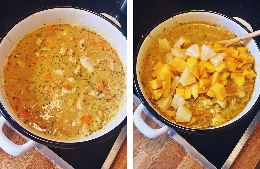 fruchtig scharfe Puten Curry mit Mango Ananas Karotten und Reis fashion kitchen