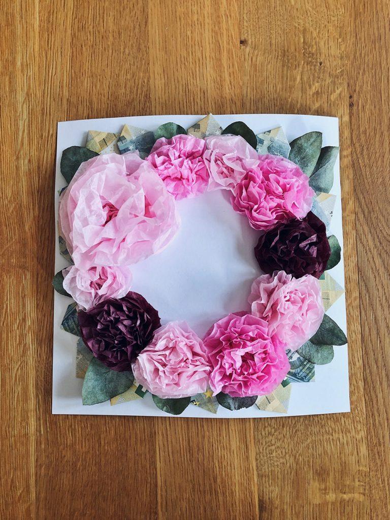 DIY - Blütenkranz im Bilderrahmen - Geldgeschenk für Hochzeit oder Geburtstag