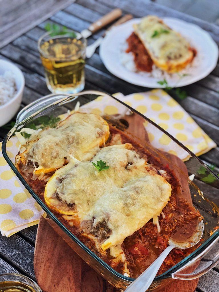 gefüllte Zucchini mit Hackfleisch und Käse
