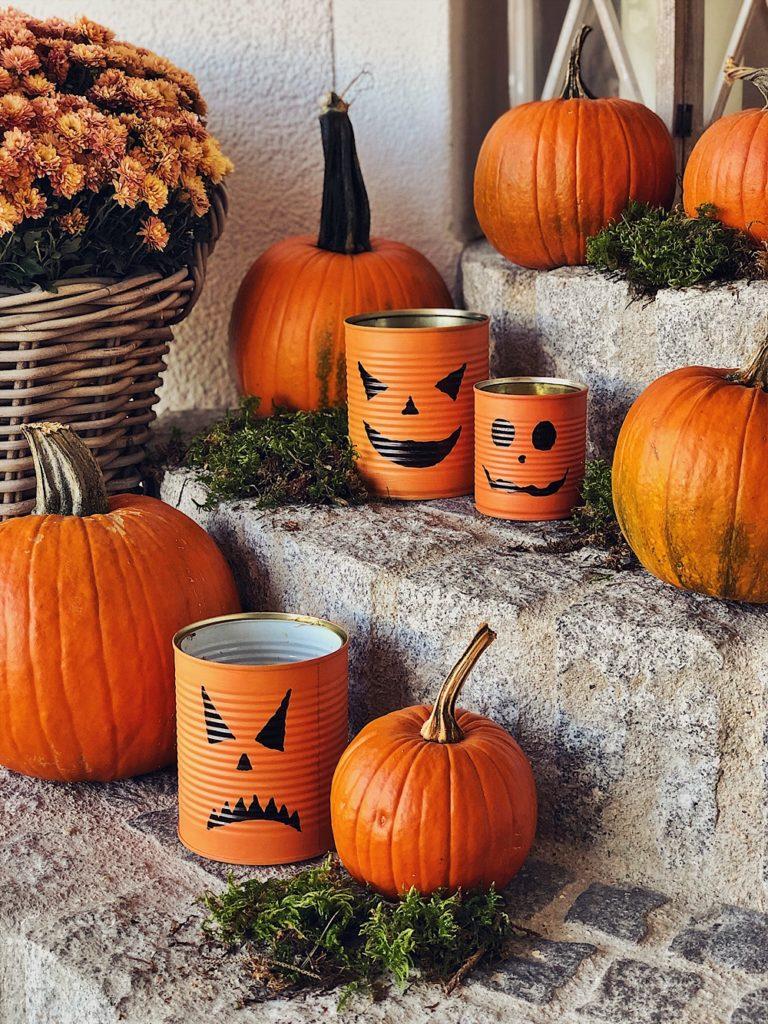 Halloween DIY - Blechdosen Kürbisse, Gespenster, Frankenstein & Windlichter
