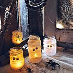 Halloween DIY - Mumien und Spinnennetz Windlichter