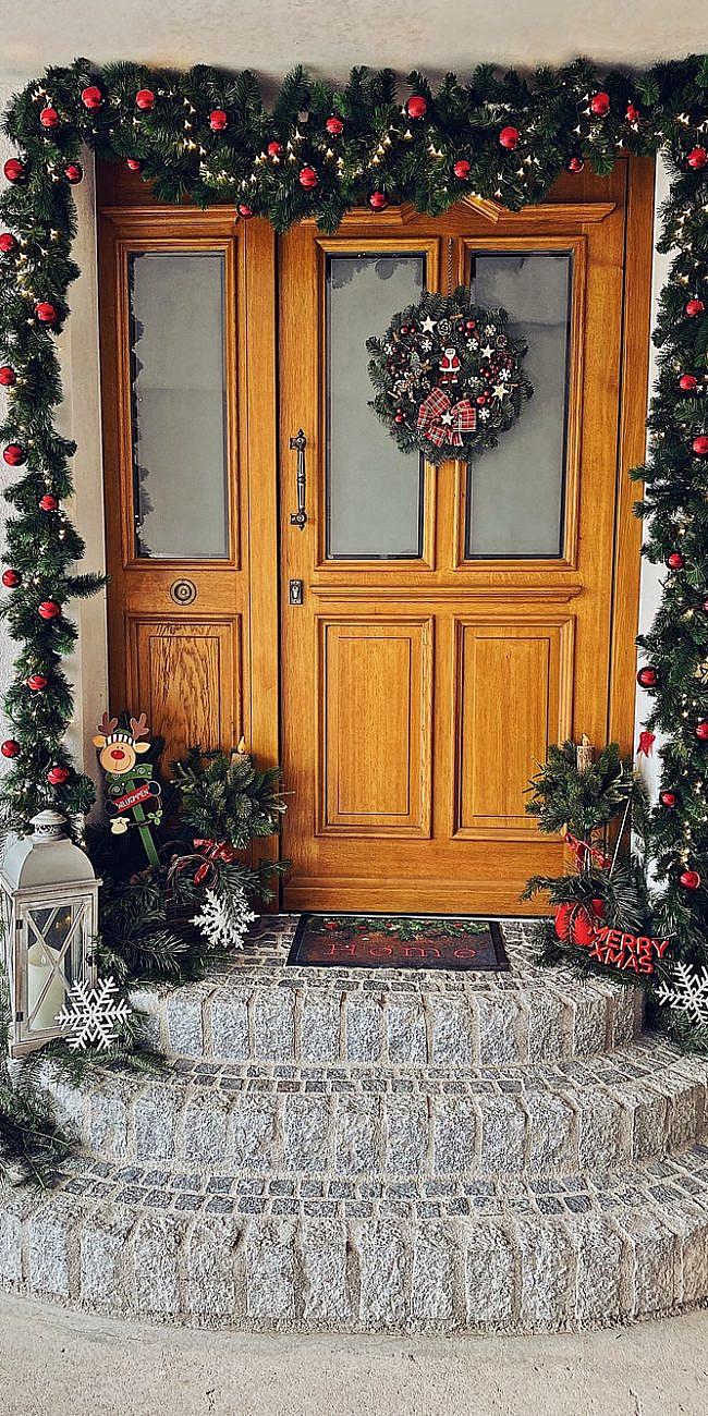 Meine Weihnachtsdekoration für die Haustür