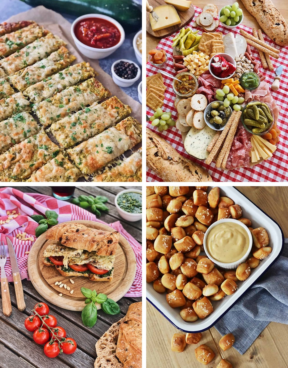 Die besten Brote, Salate, Snacks & Drinks für die Grillsaison sandwich pretzel bites bread sticks charcuterie board