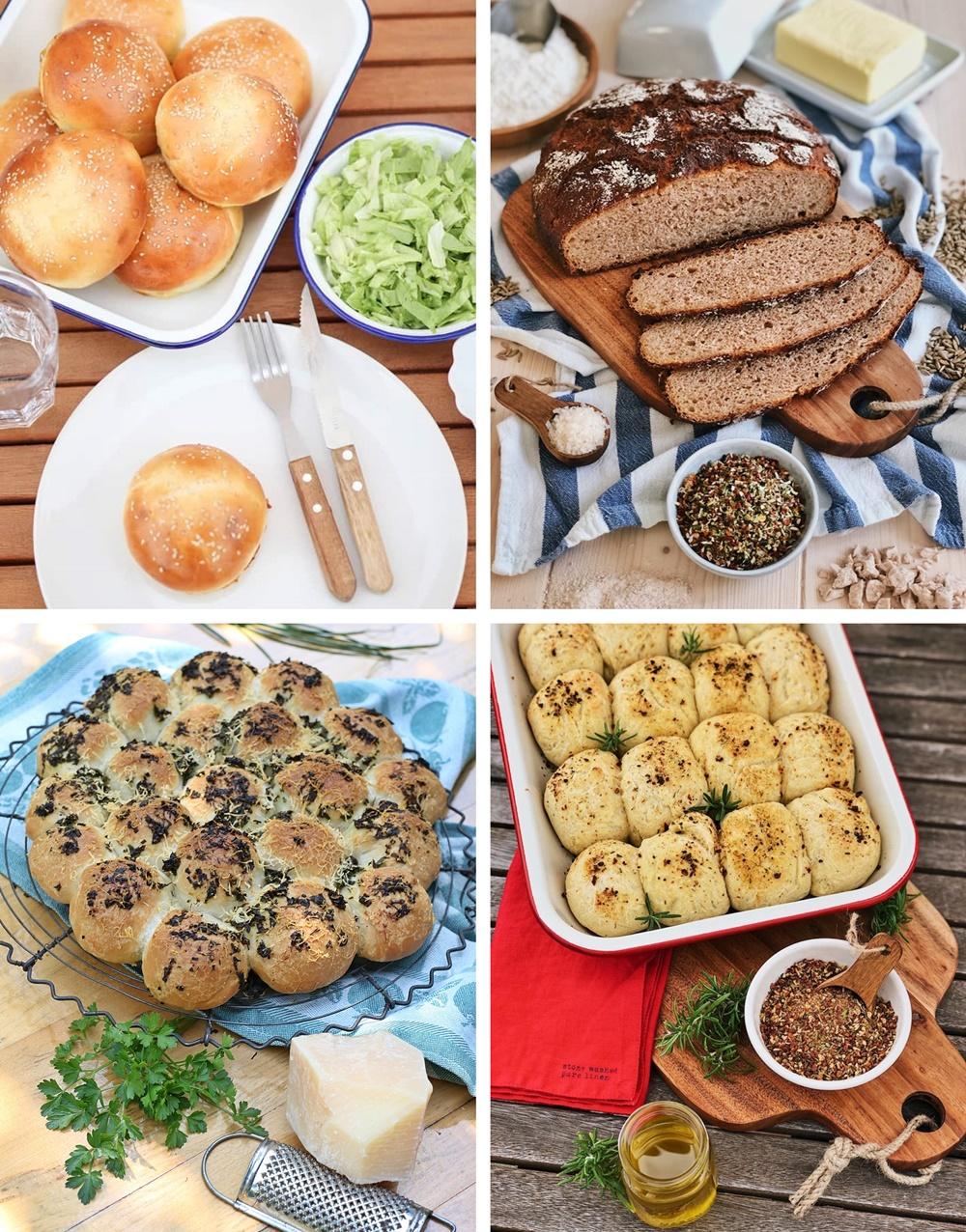 Die besten Brote, Salate, Snacks & Drinks für die Grillsaison brot baguette brötchen brötcheblume kräuterfaltenbrot zupfbrot