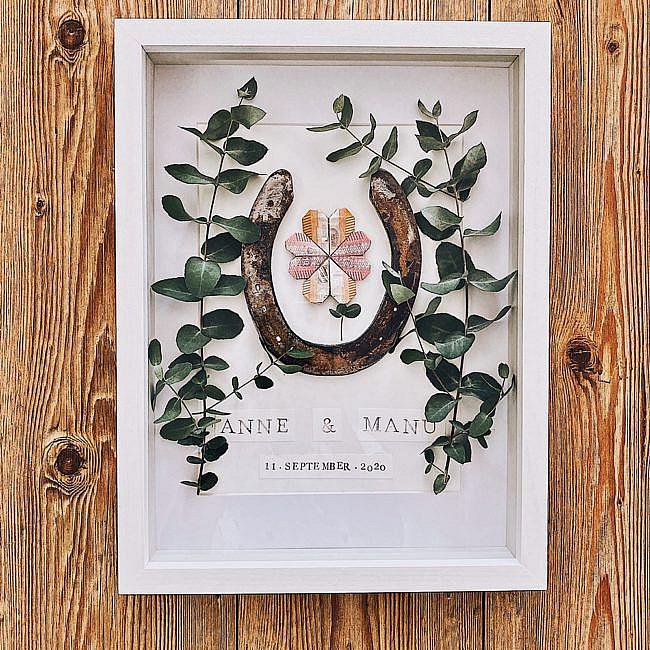 DIY - Hufeisen im Bilderrahmen - Geldgeschenk für Hochzeit oder Geburtstag