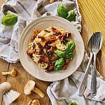 cremige Pasta mit Pfifferlingen und Speck